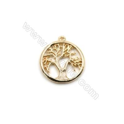 Brass Pendants  Real Gold-Filled  Life Tree  Size 15mm  Hole 0.8mm  100pcs/pack