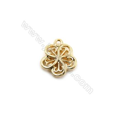 Brass Pendants  Real Gold-Filled  Flower  Size 10x11mm  Hole 1mm  100pcs/pack