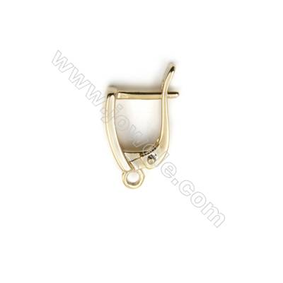 Brass Earring Clips  Jewelry Findings  Real Gold-Filled  Size 20x11mm  Pin 1.1mm  Hole 1.5mm  50pcs/pack