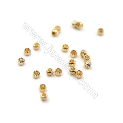 Mini Brass Corrugated Beads, Round, Real Gold-Filled, Size 1.6mm, Hole 0.8mm, 500pcs/pack