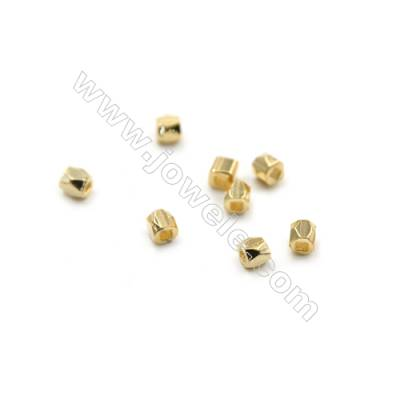 Mini Brass Beads, Cube, Real Gold-Filled, Size 3x2.5mm, Hole 0.8mm, 300pcs/pack