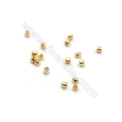 Mini Brass Beads, Cube, Real Gold-Filled, Size 1x1mm, Hole 0.8mm, 1000pcs/pack