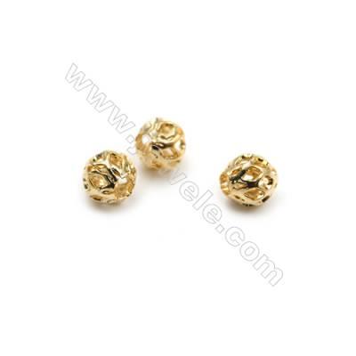 Brass Beads, Hollow Lantern, Real Gold-Filled, Diameter 5.5mm, Hole 2mm, 150pcs/pack