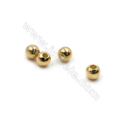 Mini Brass Round Beads, Real Gold-Filled, Diameter 4mm, Hole 1.5mm, 1000pcs/pack