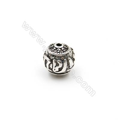 Thai Sterling Silver Beads  Flower Pattern  Diameter 8mm  Hole 1.5mm  20pcs/pack