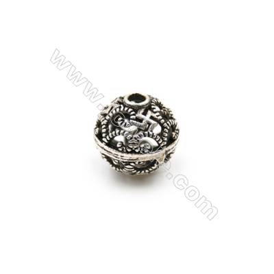 Thai Sterling Silver Beads  Hollow Beads  Diameter 10mm  Hole 2mm  20pcs/pack