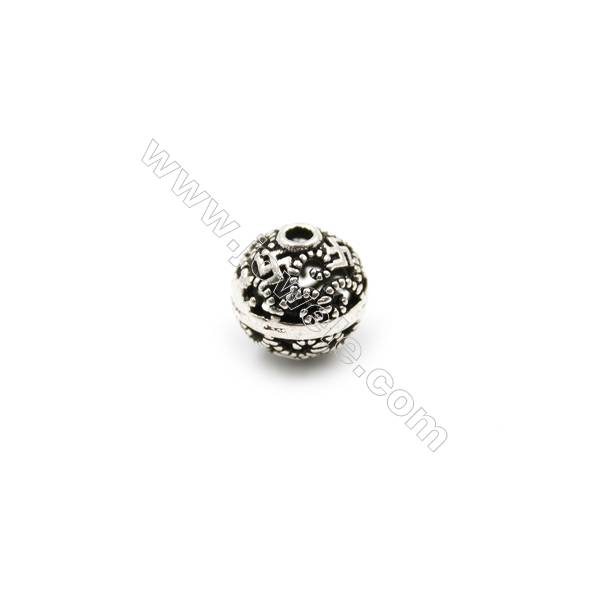 Thai Sterling Silver Beads  Hollow Beads  Diameter 8mm  Hole 1.5mm  20pcs/pack