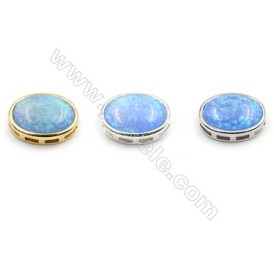 Brass Charms  with Synthetic Opal  Oval  (Golden  Platinum  Silver)Plated  Size 14x17mm  Hole 1mm  4pcs/pack