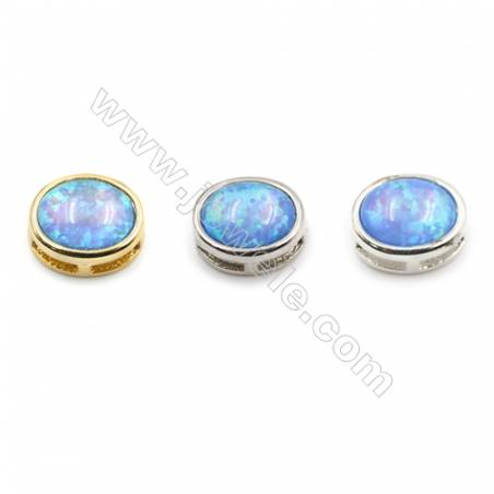 Brass Charms  with Synthetic Opal  Oval  (Golden  Platinum  Silver)Plated  Size 11x9mm  Hole 1mm  8pcs/pack