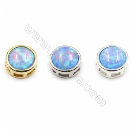 Brass Charms with Synthetic Opal, Round, (Golden, Platinum, Silver)Plated, Diameter 10mm, Hole 1mm, 8pcs/pack