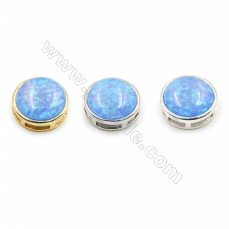 Brass Charms with Synthetic Opal, Round, (Golden, Platinum, Silver)Plated, Diameter 14mm, Hole 1mm, 4pcs/pack