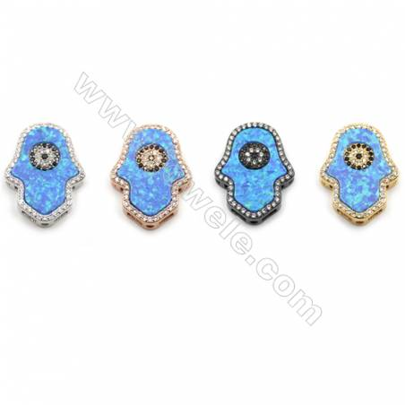 Brass with Synthetic Opal Charms, Hand, (Golden, Platinum, Rose Gold, Gun Black)Plated, Size about 17x22mm, Hole 1mm, 2pcs/pack