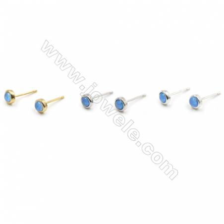Brass Stud Earring with Synthetic Opal, Round, (Golden, Platinum, Silver)Plated, Diameter 5.5mm, Hole 0.8mm, 10pcs/pack