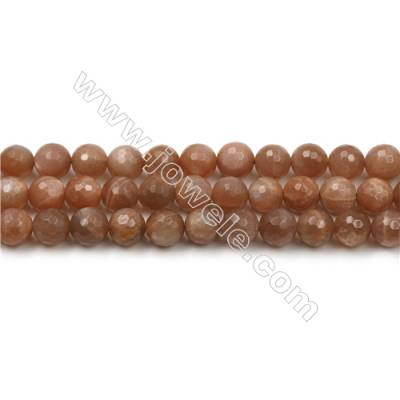 Natural Pink Moonstone Bead Strands, Round(Faceted), Diameter 8mm, Hole 0.8mm, 15~16''/strand