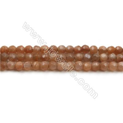 Natural Pink Moonstone Bead Strands, Round(Faceted), Diameter 10mm, Hole 0.7mm, 15~16''/strand