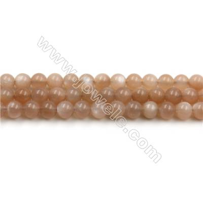 Natural Pink Moonstone Bead Strands, Round, Diameter 6mm, Hole 0.8mm, 15~16''/strand