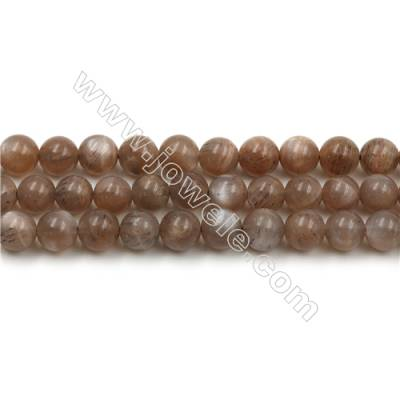 Natural Pink Moonstone Bead Strands, Round, Diameter 6mm, Hole 0.6mm, 15~16''/strand