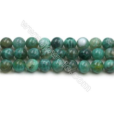 Natural Green Crackle Agate Bead Strands  Round, Diameter 10mm  Hole 1mm  15~16''/strand