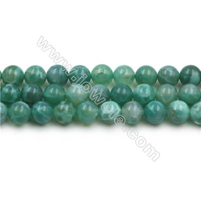 Natural Green Crackle Agate Bead Strands  Round  Diameter 8mm  Hole 0.8mm  15~16''/strand