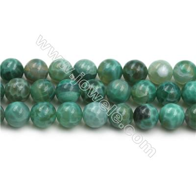 Natural Green Crackle Agate Bead Strands  Round(Faceted)  Diameter 12mm  Hole 1mm  15~16''/strand