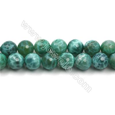 Natural Green Crackle Agate Bead Strands  Round(Faceted)  Diameter 14mm  Hole 1mm  15~16''/strand