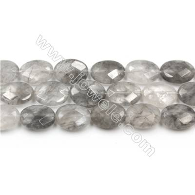 Natural Cloud Crystal Bead Strands, Oval(Faceted), Size 12x16mm, Hole 0.8mm, 15~16''/strand