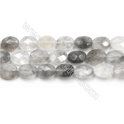 Natural Cloud Crystal Bead Strands, Oval(Faceted), Size 8x10mm, Hole 0.6mm, 15~16''/strand