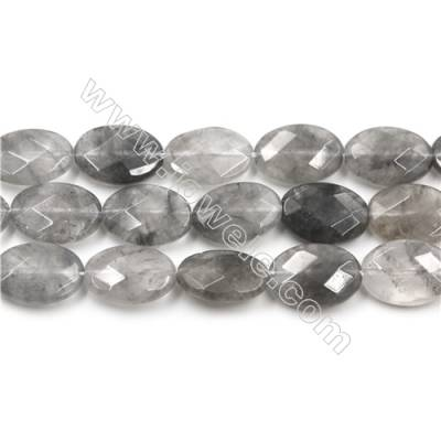 Natural Cloud Crystal Bead Strands, Oval(Faceted), Size 13x18mm, Hole 1mm, 15~16''/strand