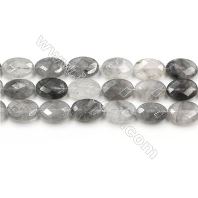Natural Cloud Crystal Bead Strands, Oval(Faceted), Size 10x14mm, Hole 0.8mm, 15~16''/strand