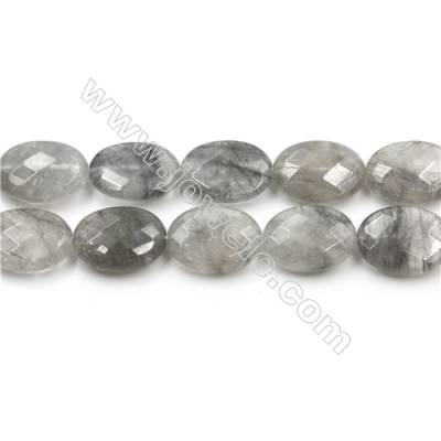 Natural Cloud Crystal Bead Strands, Oval(Faceted), Size 15x20mm, Hole 0.7mm, 15~16''/strand