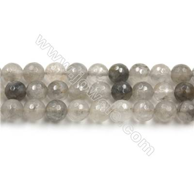 Natural Cloud Crystal Bead Strands, Round(Faceted), Diameter 8mm, Hole 0.8mm, 15~16''/strand