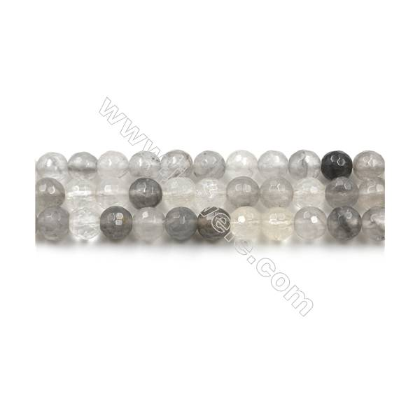 Natural Cloud Crystal Bead Strands, Round(Faceted), Diameter 6mm, Hole 0.6mm, 15~16''/strand