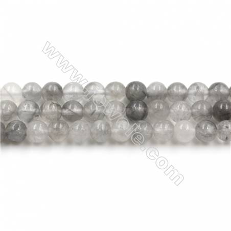 Natural Cloud Crystal Bead Strands, Round, Diameter 6mm, Hole 0.8mm, 15~16''/strand