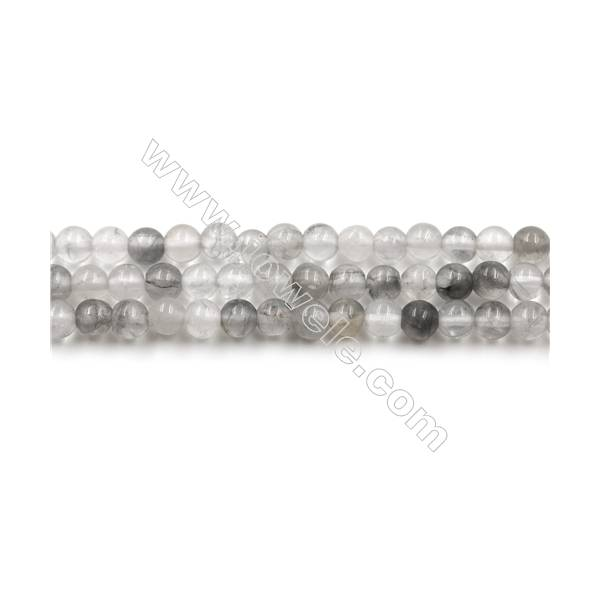 Natural Cloud Crystal Bead Strands, Round, Diameter 4mm, Hole 0.7mm, 15~16''/strand