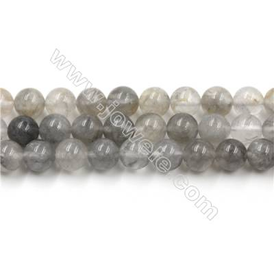 Natural Cloud Crystal Bead Strands, Round, Diameter 8mm, Hole 0.8mm, 15~16''/strand