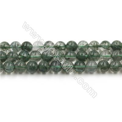Green Phantom Quartz Beads Strands, Diameter 8mm, Hole 0.8mm, 15~16''/strand