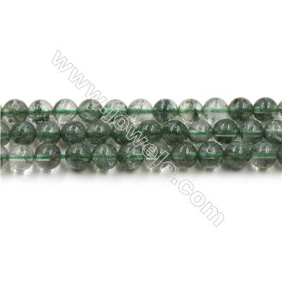 Green Phantom Quartz Beads Strands, Diameter 6mm, Hole 0.8mm, 15~16''/strand