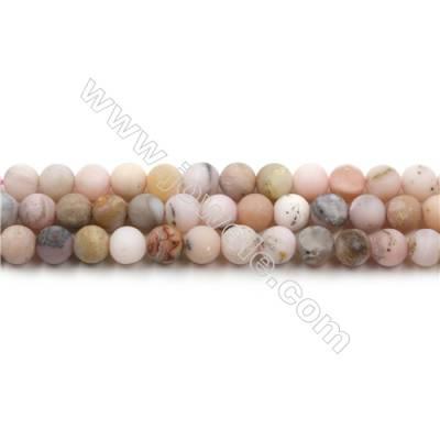 Matte Pink Opal Bead Strands, Round, Diameter 6mm, Hole 0.8mm, 15~16''/strand
