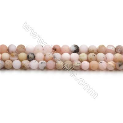 Matte Pink Opal Bead Strands, Round, Diameter 4mm, Hole 0.6mm, 15~16''/strand