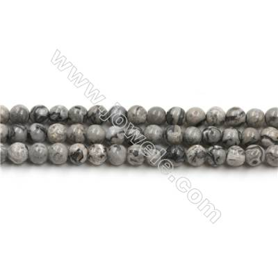 Natural Gray Picture Jasper Bead Strands, Round, Diameter 4mm, Hole 0.7mm, 15~16''/strand