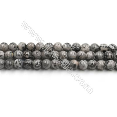 Natural Gray Picture Jasper Bead Strands, Round, Diameter 6mm, Hole 0.8mm, 15~16''/strand
