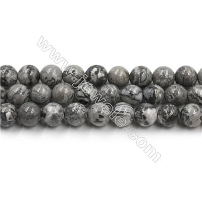 Natural Gray Picture Jasper Bead Strands, Round, Diameter 10mm, Hole 0.8mm, 15~16''/strand