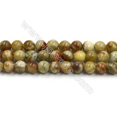 Natural Green Serpentine Bead Strands, Round, Diameter 8mm, Hole 0.8mm, 15~16''/strand
