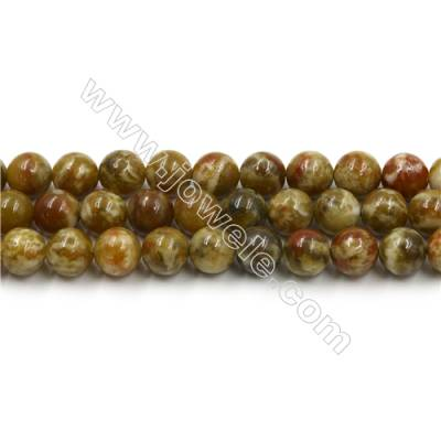 Natural Green Serpentine Bead Strands, Round, Diameter 10mm, Hole 0.8mm, 15~16''/strand