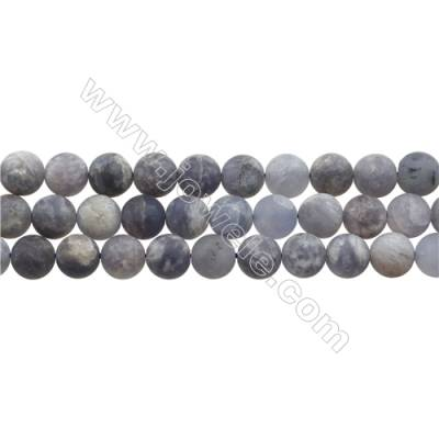 "Matte Natural Iolite Gemstone Bead Strand, Round, Diameter 8mm, Hole 0.8mm, 15~16""/strand"