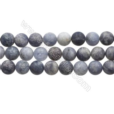 "Matte Natural Iolite Gemstone Bead Strand, Round, Diameter 12mm, Hole 0.8mm, 15~16""/strand"