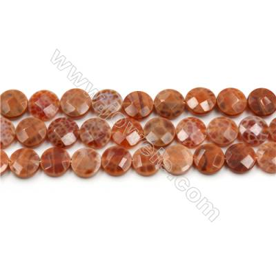 """Natural Fire Agate Beads Strands, Flat Round, Faceted, Diameter 12mm, Hole 0.8mm, 15~16""""/strand"""