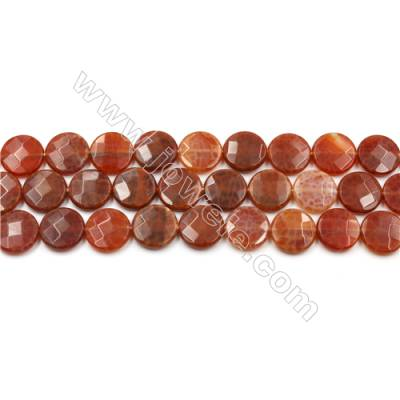"Natural Fire Agate Beads Strands, Flat Round, Faceted, Diameter 15mm, Hole 0.8mm, 15~16""/strand"