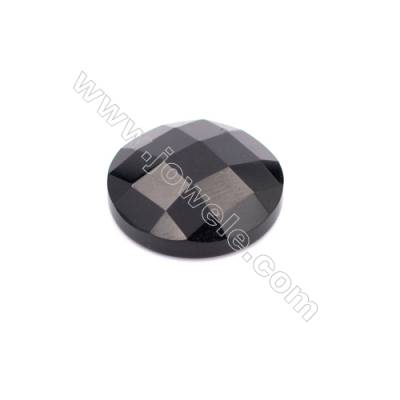 Natural Black Agate Faceted Round Gemstone Cabochon  Size 18mm 10pcs/pack