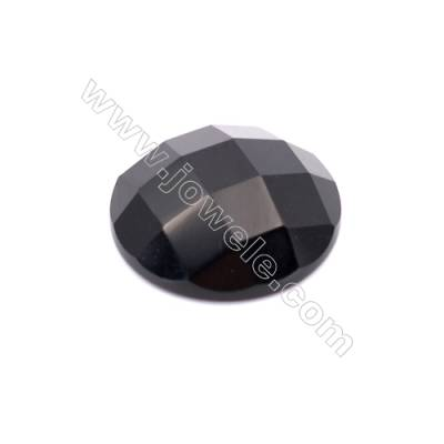 Natural Black Agate Faceted Round Gemstone Cabochon  Size 20mm 10pcs/pack